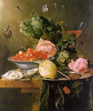 Still life with fruit and fly