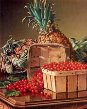Prentice, Levi Wells American, 1850-1935 Still Life with Pineapple and Basket of Currants